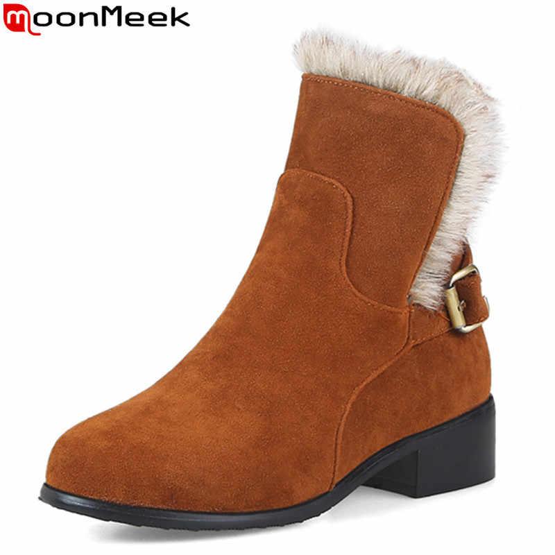 MoonMeek 2020 kış sıcak tutmak moda rahat bayan botları düşük topuk yuvarlak ayak basit yarım çizmeler büyük boy 33-46