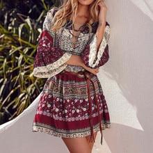 Boho Dress Vestido Floral-Print Mini Casual Women Summer Short-Sleeve Holiday 40-