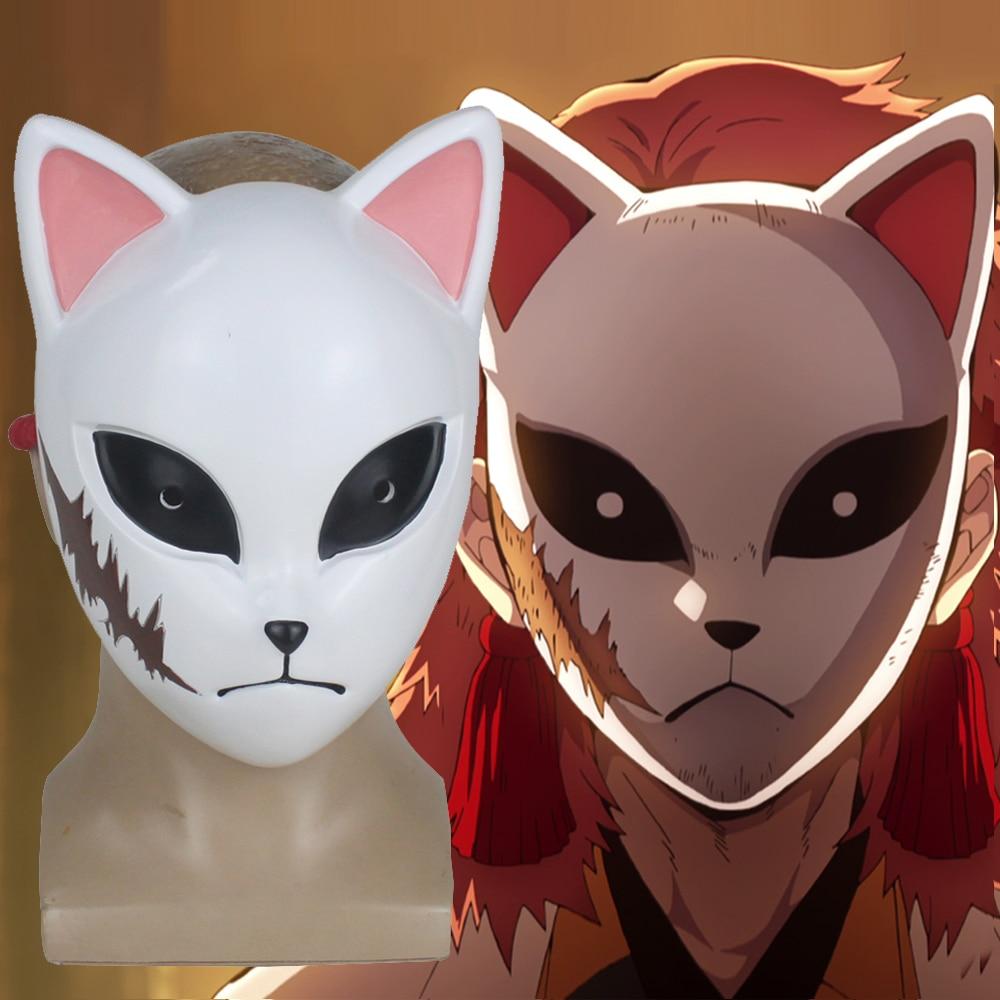 Demon Slayer Kimetsu No Yaiba Mask Kamado Tanjirou Cosplay Fox Mask Prop PVC Handmade Mask Japan Anime