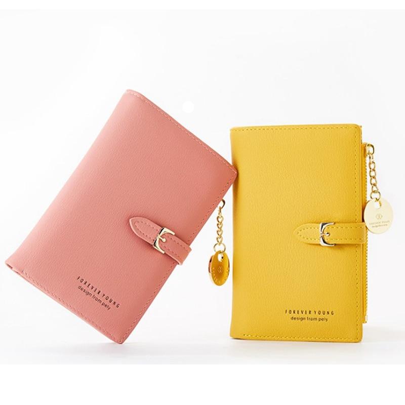 Women's Wallet Purse Short Design Fashion PU Leather Card Holders Zip Blocking Bifold Multi Vintage Card Case Wallet with Zipper