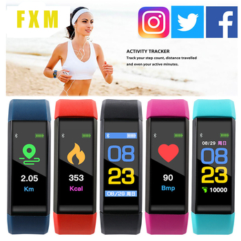 v07 heart rate blood pressure monitor smart bracelet blue 115 Smart Watch Heart Rate Monitor Blood Pressure Monitor Colorful Screen Vibrating Alarm Clock  fitness bracelet montre homme