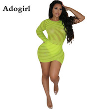 Adogirl Fluorescent Green Mesh Diamonds Bodycon Dress One Shoulder Long Sleeve Night Club Mini Dresses Sexy Ladies Cloth