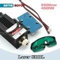 5500 МВт/2500 мвт/500 МВт 450нм Фокусировочный синий лазерный модуль для лазерной гравировки и резки + защитные очки для фрезерования гравировки с ...