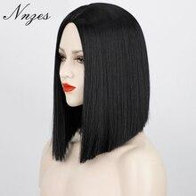 NNZES-peluca recta con corte Bob para mujeres negras, pelo sintético, parte media, resistente al calor, pelo Natural, 14 pulgadas