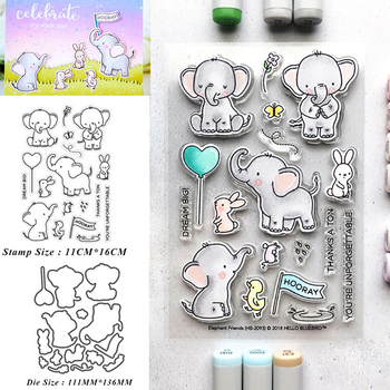 Reunion Elephant friend Metal Cutting Dies and Stamps Stencil for DIY Scrapbooking Photo Album Embossing Decorative Paper Cards free shipping stencil painting template stamps diy scrapbooking photo album cards decorative embossing cake fondant cupcake tool