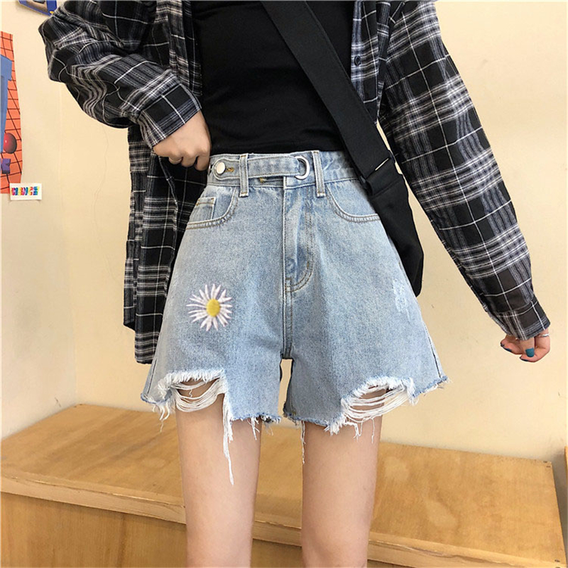 High Waist Shorts Women Denim Korean Fashion Floral Embroidery Womens Kawaii Pockets Summer All Match Females Stylish Trousers