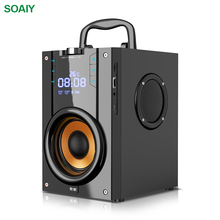 SOAIY Big Power Bluetooth Speaker Wireless Stereo Subwoofer Speakers Heavy Bass Music Player Support LED Display FM TF Mic leory 220v bluetooth speaker led light display 15inch big power subwoofer speaker with mic tf remote control player