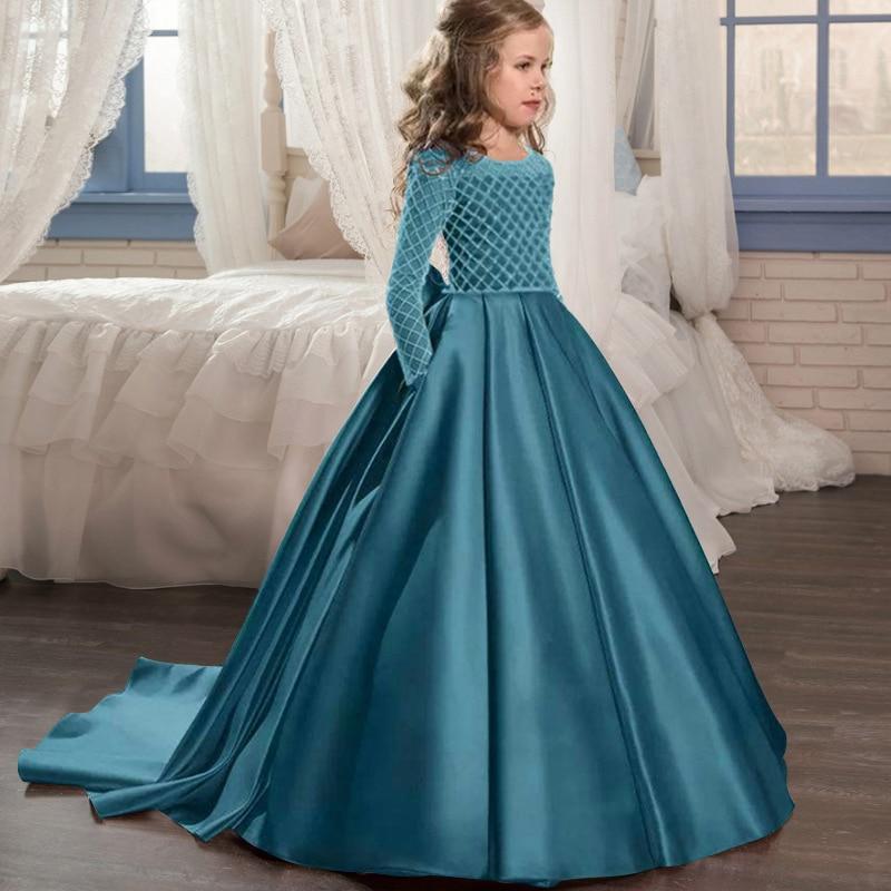 Маленькие платья для девочек, держащих букет невесты на свадьбе; платье для торжеств; платье для девочек, расшитое бисером, на день рождения; платье для первого причастия; бальное платье с длинными рукавами и лепестками - Цвет: Lake blue