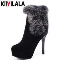 Kiiyilala/обувь большого размера женские ботинки зимние сапоги с эластичными лентами из натурального меха обувь на платформе с каблуком 16 см женские ботильоны с круглым носком