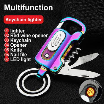 Multifunction Creative Lighter Cigarette Rechargeable Electronique Knife Electronic Tungsten Turbo Usb Lighters Keychain Opener