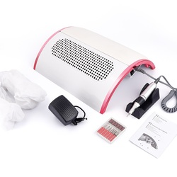 48W 2-IN-1 Nail Drill Machine Nail Dust Collector Manicure with 3 Powerful Fans Vacuum Cleaner Manicure Pedicure Tools