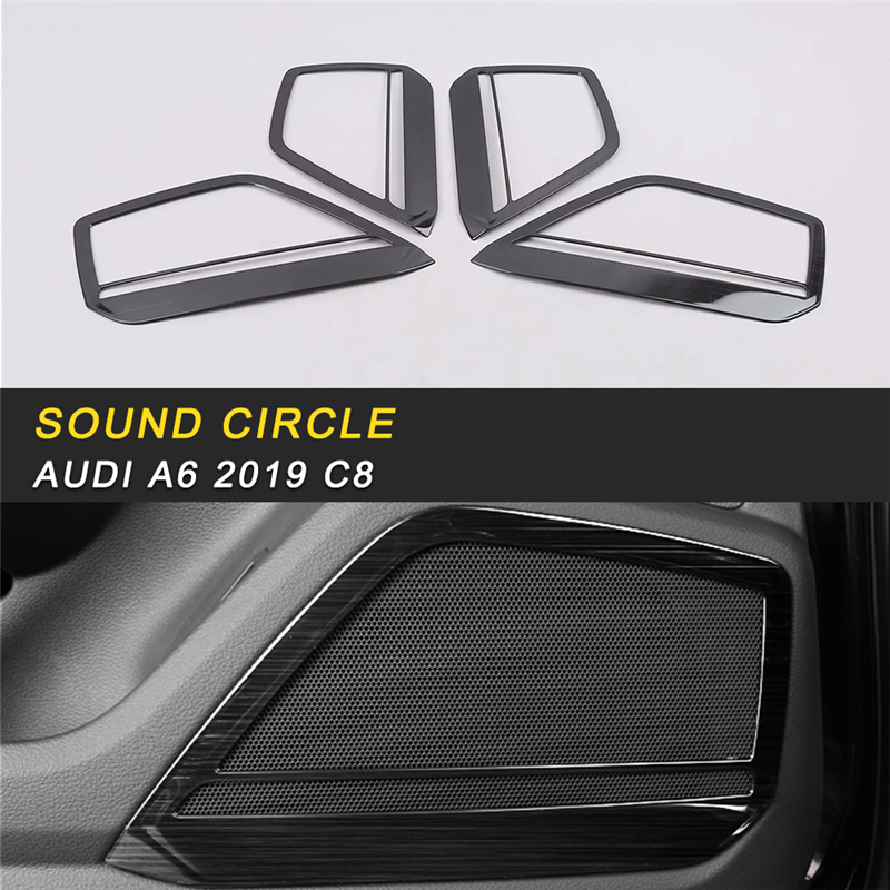 Car Styling Loudspeaker Sound Cover Trim Frame Sticker Chrome Interior Accessories  For Audi A6 C8 2019
