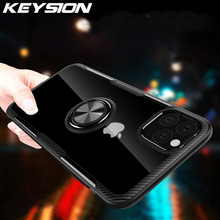 KEYSION Ring Phone Case for iPhone 11 Pro Max Clear Soft Silicone Magnetic Car Holder For Apple 2019 New