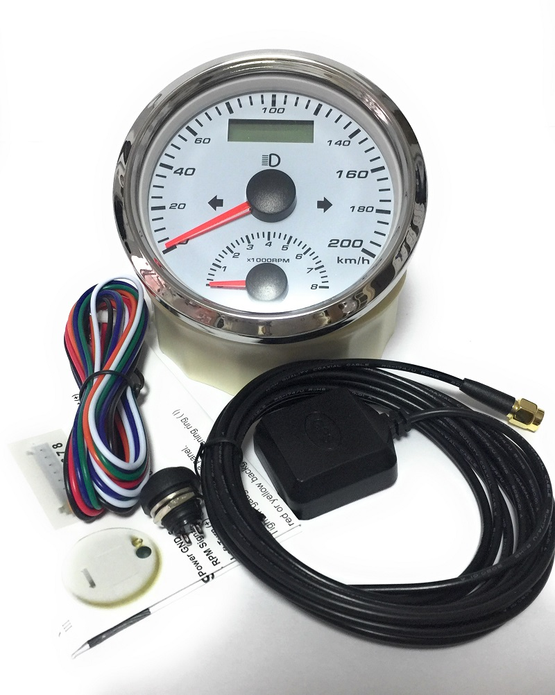 ELING Universal GPS Speedometer 200MPH with Tachometer 0-8000RPM Left Right High Beam Over Speed Buzzer Alarm Odometer Mileage Resetable 85mm 9-32V