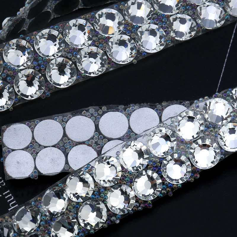 1 Yard 10 millimetri di Cristallo di Vetro Cucito Trim Strass Hot Fix Strass Nastro Applicatore Nastro Con Strass Appliques Per Abbigliamento