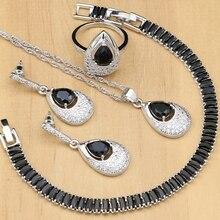 Joyería nupcial de plata, circonita negra, cristal blanco, juegos de joyas para mujer, pendientes de fiesta con anillos de piedra, conjunto de collar de pulsera