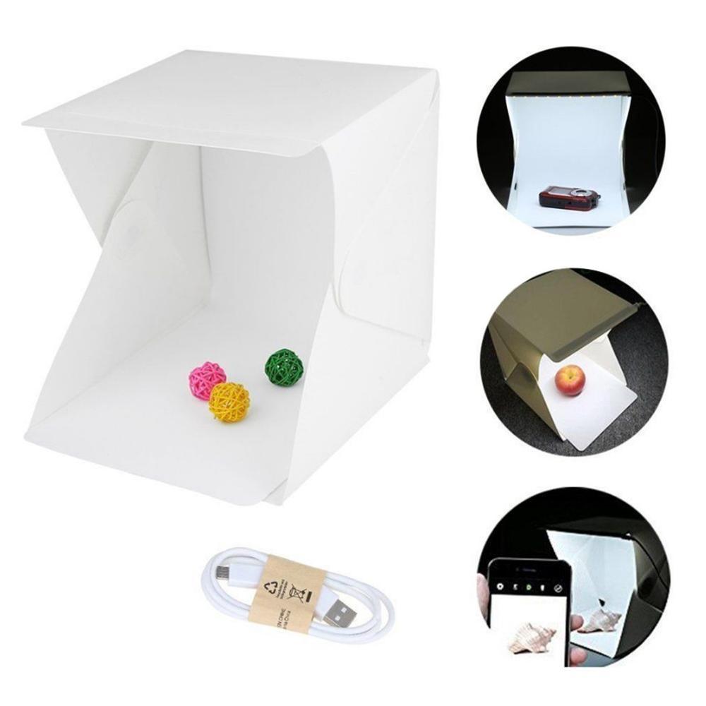 Tüketici Elektroniği'ten Masa Üstü Çekim'de Mini katlanır Lightbox fotoğrafçılık fotoğraf stüdyosu Softbox led ışık yumuşak kutu fotoğraf arka plan kiti ışık kutusu DSLR kamera için title=