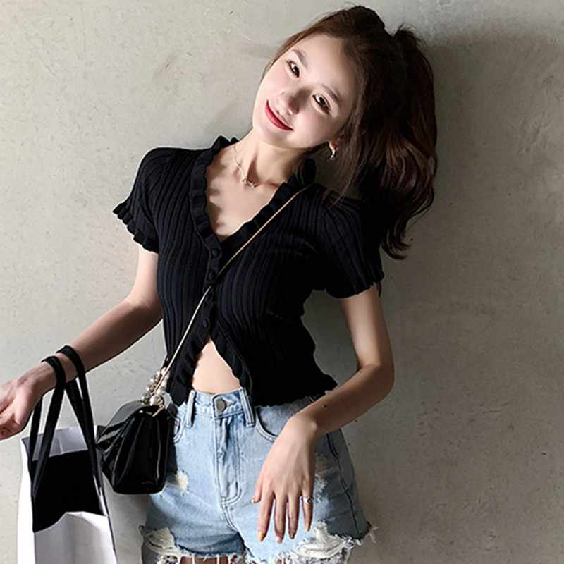 Fashion V-neck Button Knitted  T-Shirt Ruffled Exposed Navel Short Sleeved T-shirt Cardigan For Female Streetwear Tee Tops