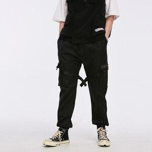 Image 3 - Aelfric Eden Linten Hip Hop Cargo Broek Mannen Zwart Pocket Streetwear Harajuku Techwear Broek Broek Harem Joggers Joggingbroek
