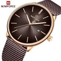 Novo relógio de quartzo naviforce moda simples dos homens relógios marca superior luxo aço inoxidável relógio à prova dwaterproof água masculino esporte relogio Relógios de quartzo     -