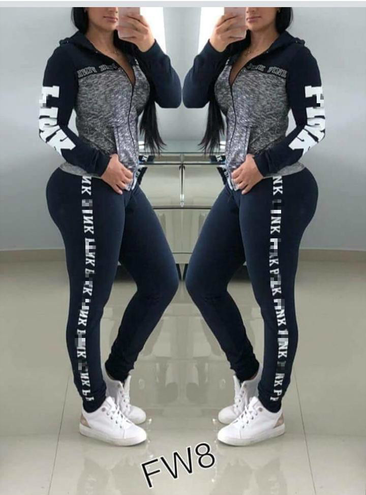 2019 Autumn Women Set Sportswear Tracksuit Outfits Long Sleeve Pink Letter Print Jackets + Skinny Legged Long Pants Two Pieces
