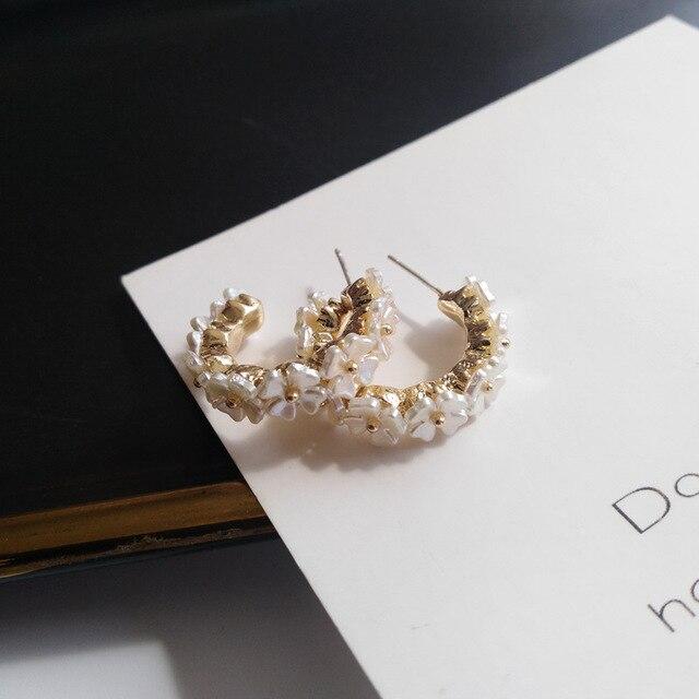 S925 agulha flor brincos moda jóias chapeamento de ouro branco resina hoop brincos feminino jóias menina estudante presentes para festa 3