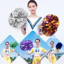 1 peça metálica animal de estimação cheerleader pom ppom menina torcendo dança decorador cheerleading pompons baton hhandle colorfast