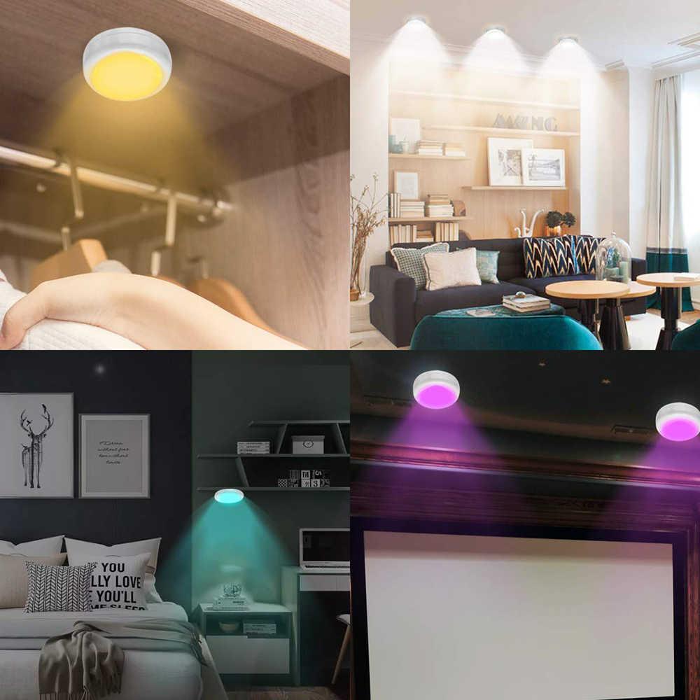 RGBW 13 색상 캐비닛 빛 아래 디 밍이 가능한 터치 센서 옷장 옷장 밤 빛 퍽 빛 원격 컨트롤러