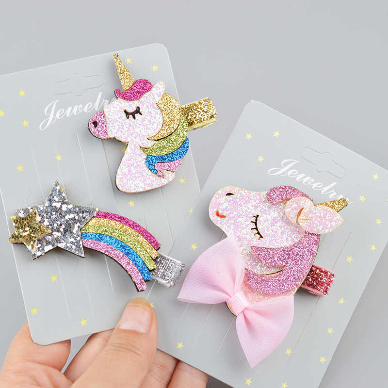Hair Accessories Unicorn Gilter Hair Clips for Girls Fashion Kids Star Hairpins Barrettes Cartoon Hairgrip