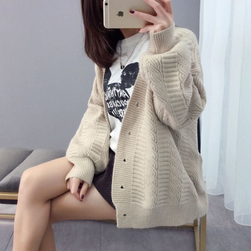 Sweater cardigan jacket female loose Korean student spring and autumn 2021 new sweater trend round button net red hot sale old K 3