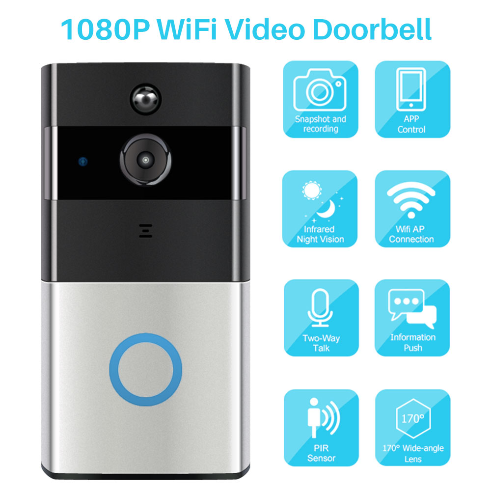 Smart Video Doorbell Camera IP Door Bell Two-Way Video Intercom PIR Monitor Alarm Remote Home Monitoring Via Smartphone APP