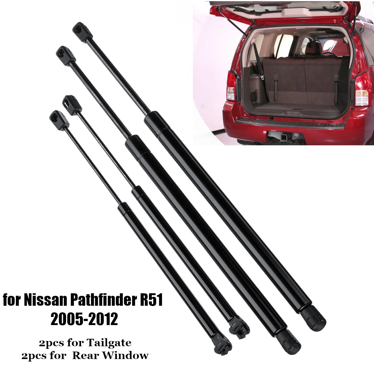 4X Rear Window Tailgate Boot Gas Spring Struts Strut Support Rod Arm Bars For Nissan Pathfinder R51 2005 2006 2007 2008 - 2012