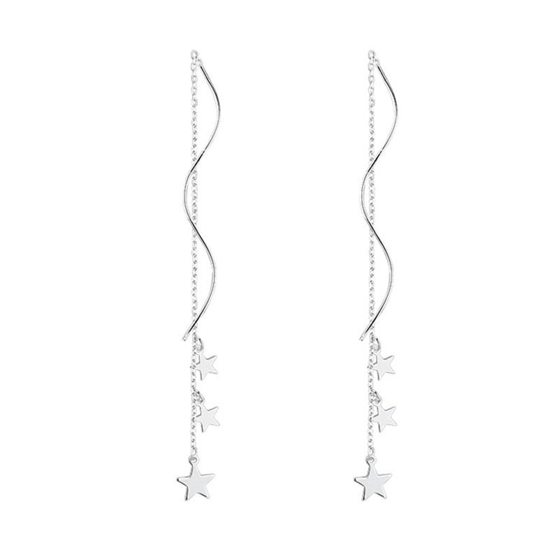 OBEAR Star Earrings Siver Plated Wedding Drop Earrings For Women S925 Simple Fine Jewelry