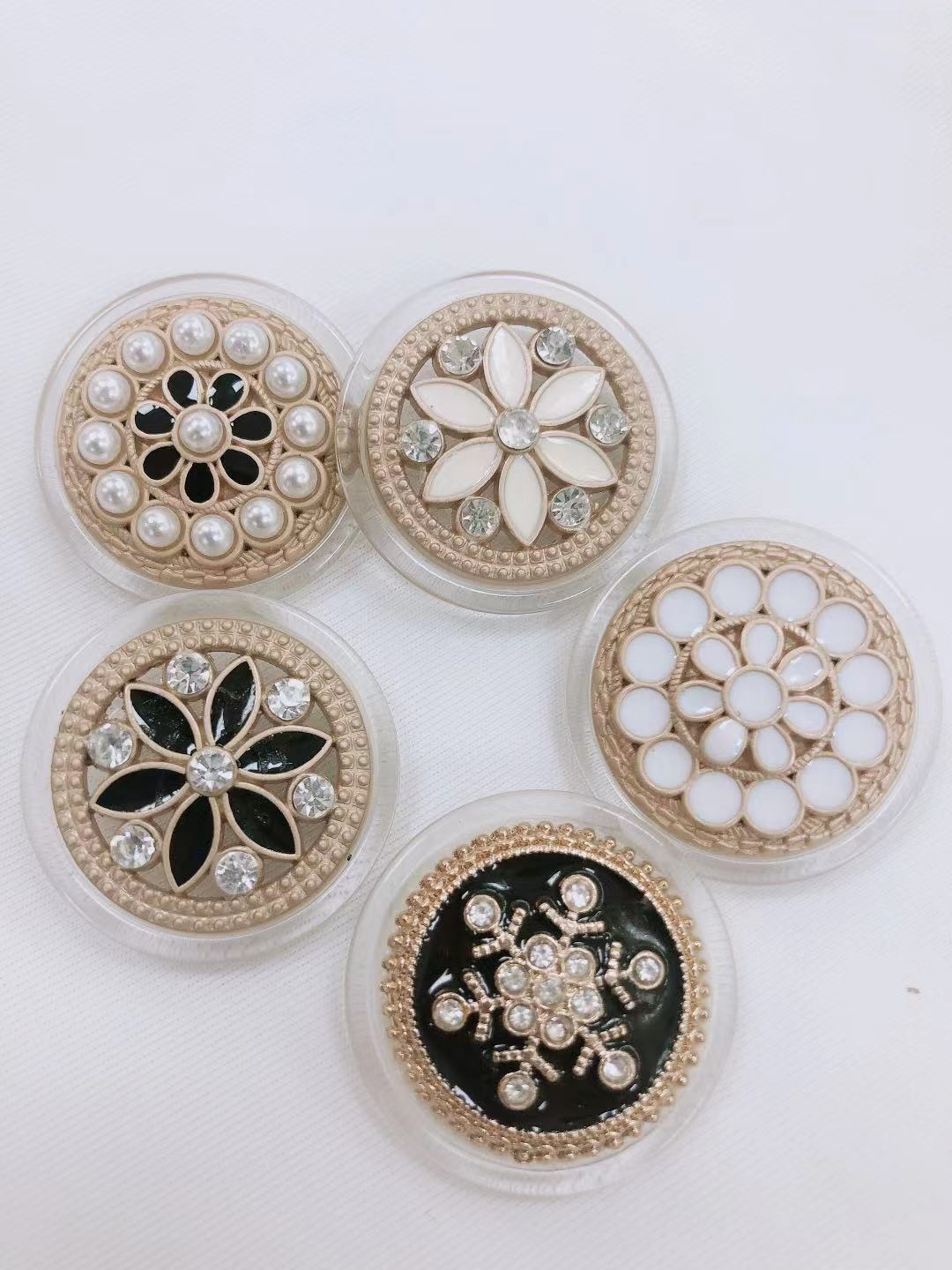 5pcs Faux Pearl Gold Metal Women Coat Buttons For Clothing Garment Decorative Large Vintage Buttons Sewing Accessories Wholesale