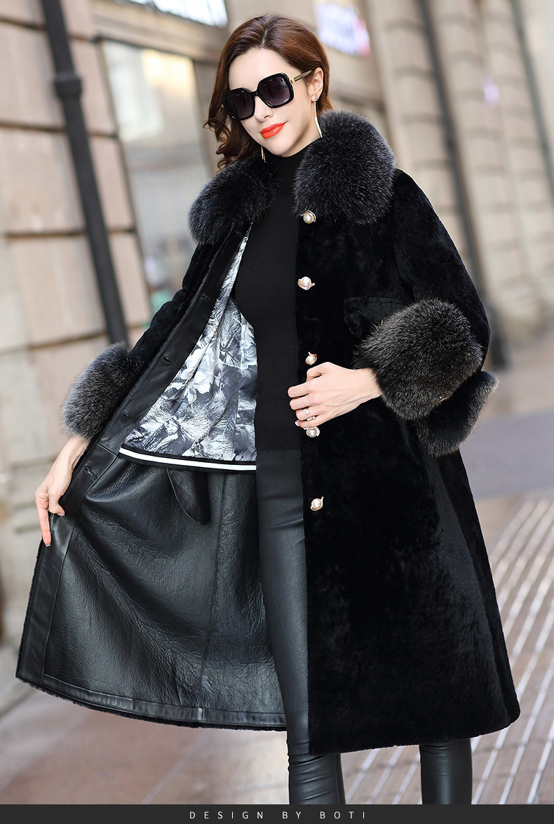 Faced Double Fur Coat Female Fox Fur Collar Natural Wool Coats 2020 Winter Jacket Women Genuine Leather Jacket MY3717 S