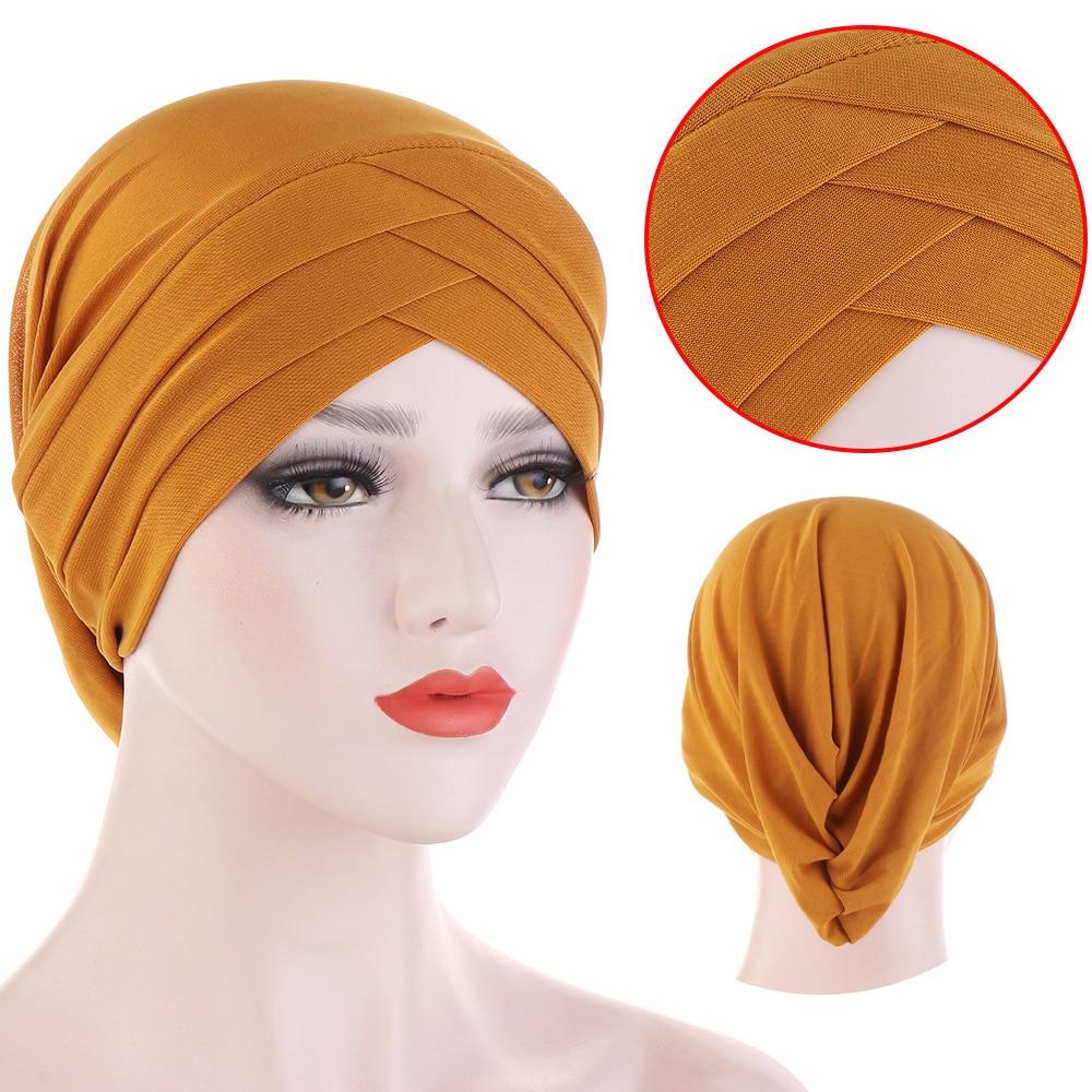 Мусульманский тюрбан с крестом на лбу, чистый цвет, стрейчевый хлопок, внутренние хиджабы для шапок, готов носить Женский платок на голову п...