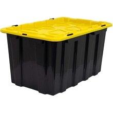 Сверхмощный пластиковый ящик для хранения с крышкой большой 15,8 галлоновый контейнер для хранения(60 литров) прочный, практичный-класс распределительный контейнер черный