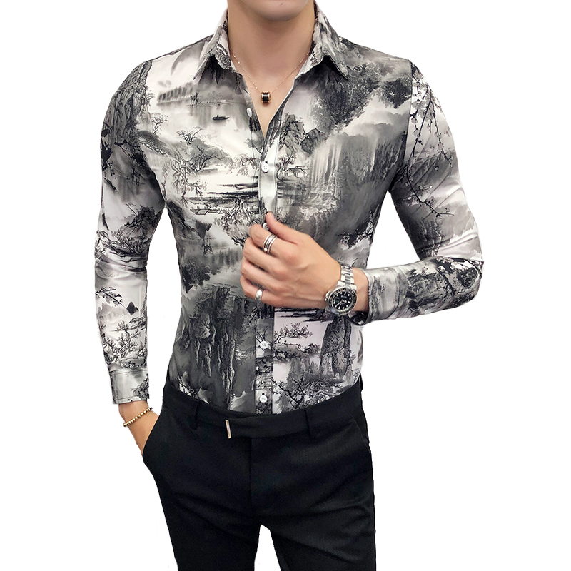 Autumn Shirt Man Fashion 2018 Landscape Painting Print New Casual Mens Tops Long Sleeve Slim Fit Night Club Party Dress Shirts