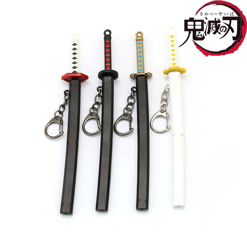 Japanese Anime Demon Slayer Sword Keychain Cosplay Katana Ghost Blade Metal Pendant Keyrings Kamado Tanjirou Weapons Llaveros
