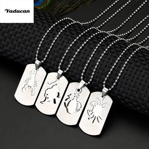 Yaducan 12 Style Twelve Constellations Symbol Laser Printing Dog Tag Necklace Stainless Steel Pendant Do not Fade not Rust(China)
