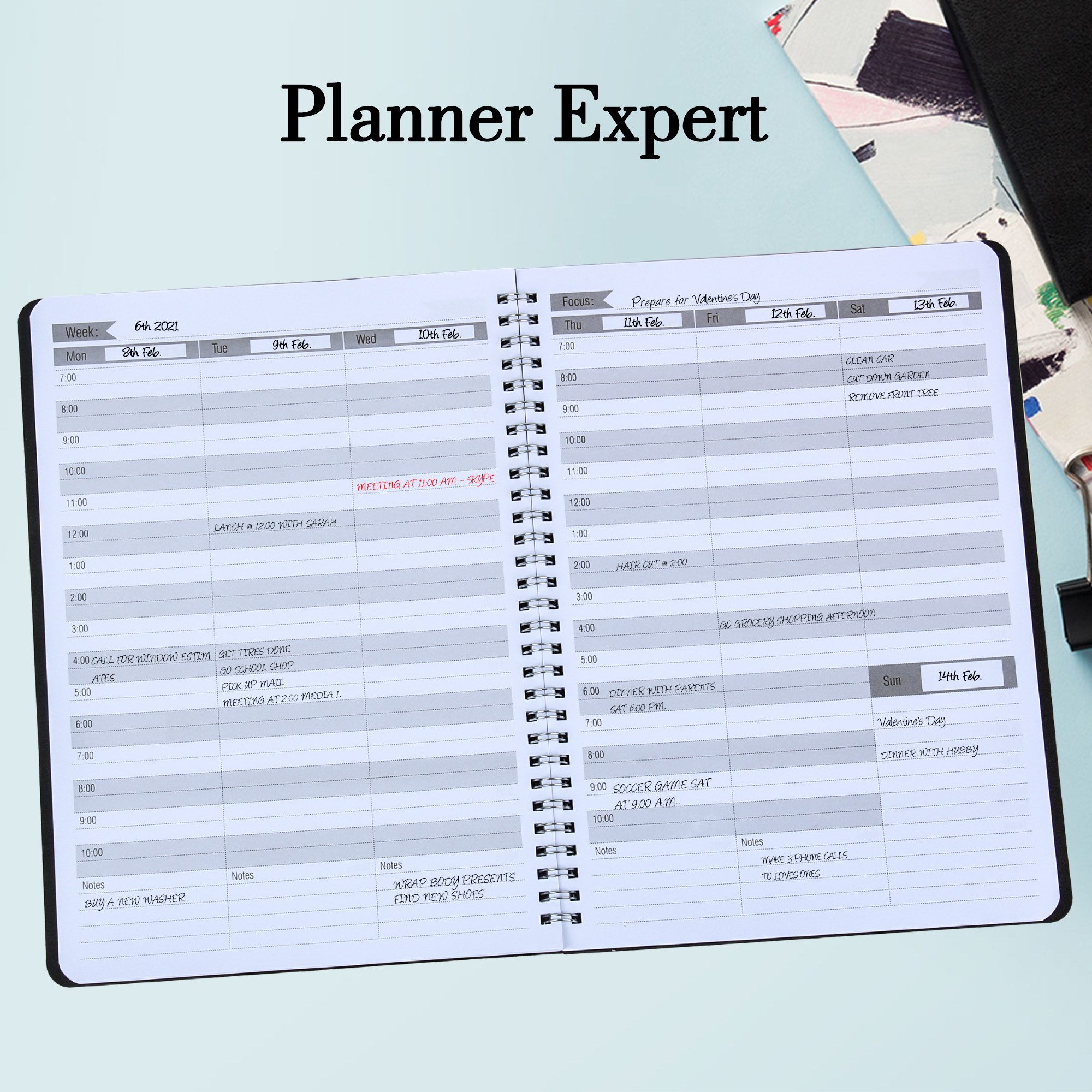 Weekly Planner Undated Hourly Appointment Book Daily Agenda Planner 8