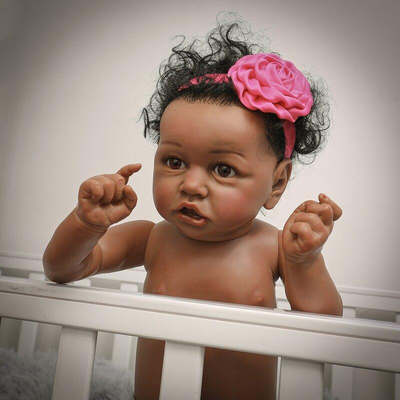 Muñecas de bebé Reborn de 22 pulgadas, muñeca para bebés de 55cm, muñecas realistas para bebés recién nacidos con boca torcida, cuerpo de silicona suave - 3