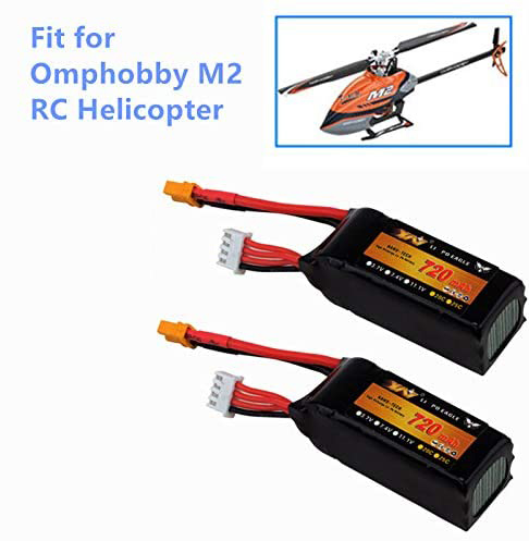 Upgrade 11.1V 720mAh Li-po Battery XT30 Plug for Omphobby M2 RC Helicopter image