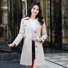 Spring Autumn Trench Coat Slim Single Breasted Trench Coat Woman Trench Coat Long Plus Size Coat For Women Windbreakers Outwear cheap yunxiangyishang Solid Full 3a589 V-Neck Button Pockets Spliced Broadcloth High Street Polyester khaki pink beige black M L XL XXL 3XL 4XL 5XL