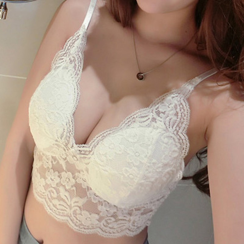2019 New High Quality Women <font><b>Sexy</b></font> Lace Floral Bralet <font><b>Bra</b></font> Bustier Crop Top Tank Top Lace ribbon chest pad bottom strap <font><b>bra</b></font> top image