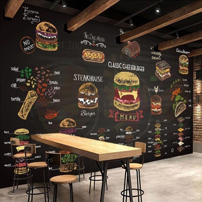 Custom 3D Wallpaper Retro Hand Painted Hamburger Fast Food Restaurant Snack Bar Backgropund Wall Decor Papel De Parede Wallpaper