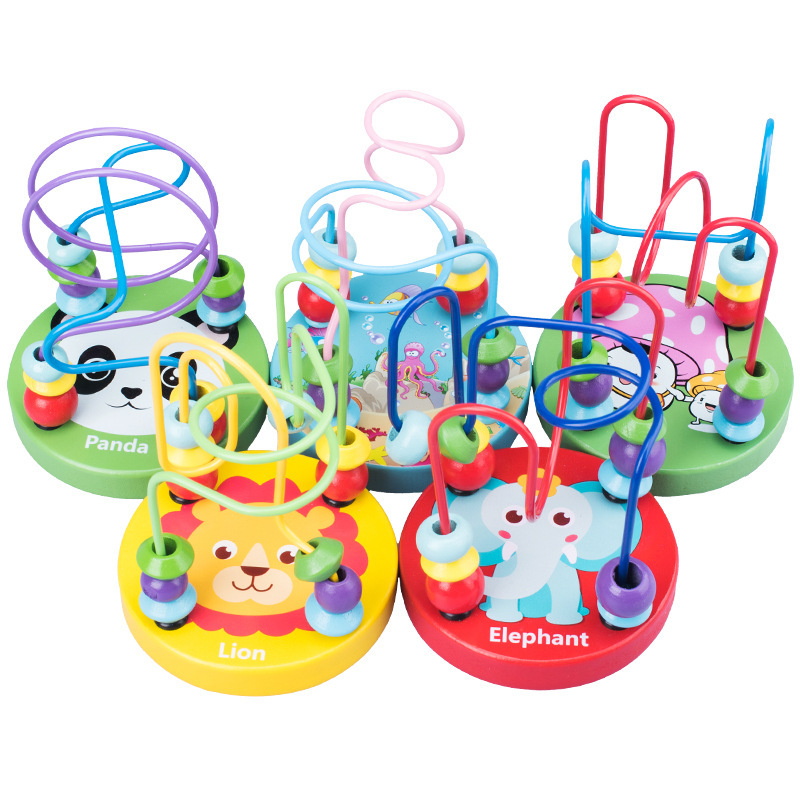 Montessori Baby Wooden Toys Circles Bead Wire Roller Coaster Animals Printing Puzzle Toy Toddler Boy Girl Educational Wood Toys