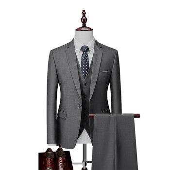 Plus Size S-6xl Solid Tuxedo Formal Business Work Wear Men Suits 3Pcs Set Wedding For