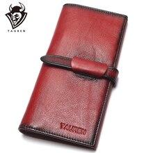 100% de bloqueo RFID para hombre, billetera larga de cuero de vaca genuino con pintura a mano Vintage, monedero, billetera de diseñador Vintage