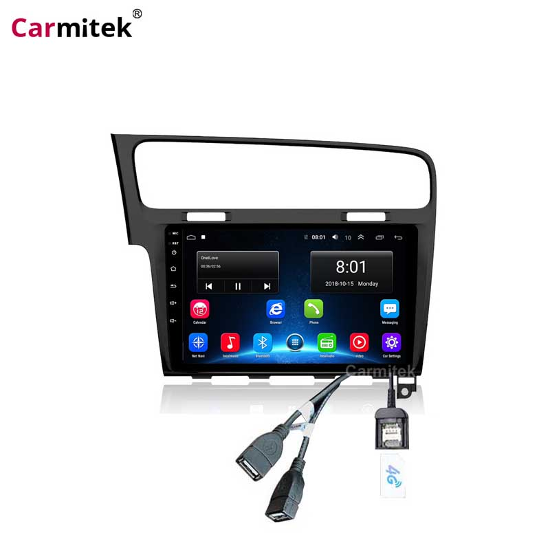 Black 2 Din Android 9 Car Radio GPS Navigation Player Stereo wifi Multimedia Player For VW Volkswagen <font><b>Golf</b></font> 7 <font><b>MK4</b></font> 2013--2018 image